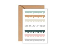 Leonie van der Laan dubbele kaart enveloppe Congratulations (golfjes)