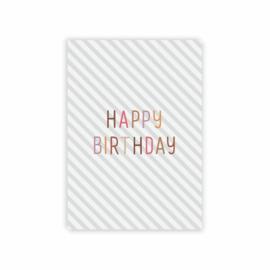 Leonie van der Laan postkaart Happy Birthday streep