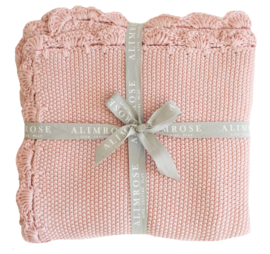 Alimrose KNIT MINI MOSS STITCH BLANKET 100% ORGANIC COTTON - PINK 100CM X 100CM