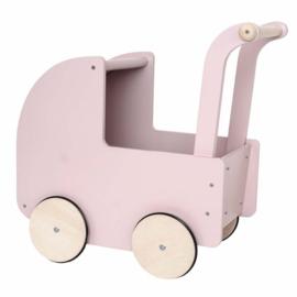 Jabadabado Houten poppenwagen met kap lichtroze