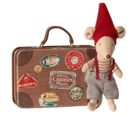 Maileg  CHRISTMAS MOUSE  IN SUITCASE, LITTLE BROTHER MOUSE