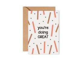 Leonie van der Laan dubbele kaart enveloppe You're doing great