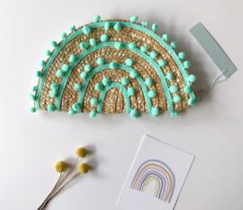 Kdootjes Summer Fashion Vrolijke Stro Handtas Pompons Mint