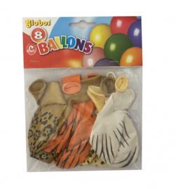 Ballonnen met dierenprint (8 stuks)