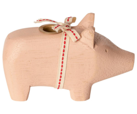 Maileg WOODEN PIG, SMALL - POWDER