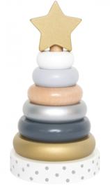 Jabadabado Houten stapelring (goud/zilver)