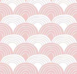 Swedish Linens RAINBOWS | Hoeslaken | 90x200cm | Nudy pink