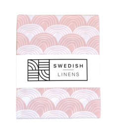 Swedish Linens RAINBOWS | Hoeslaken | 90x200cm | Nudy pink
