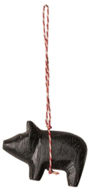 Maileg WOODEN PIG ORNAMENT BLACK