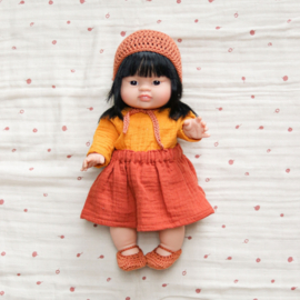 Nuki-Nuby poppen bonnet gehaakt roest