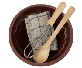 Maileg utensils and mixing bowl - beslagkom met garde, pollepel en theedoek