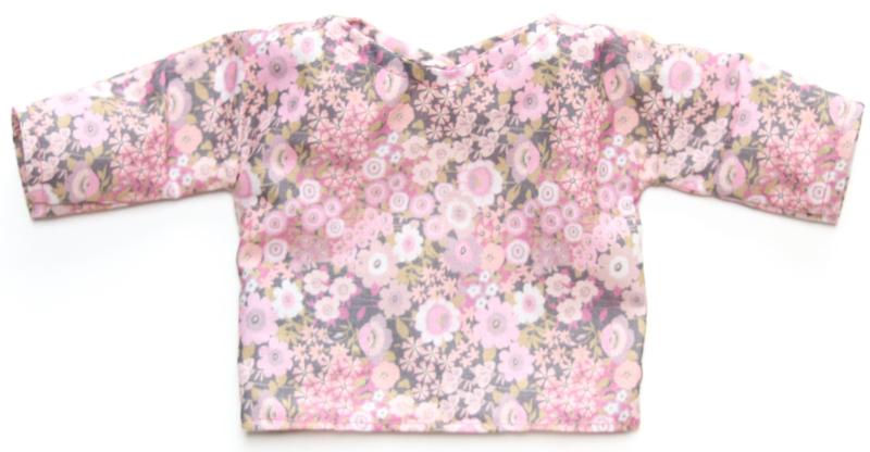Nuki-Nuby poppenshirt roze met bloemetjes
