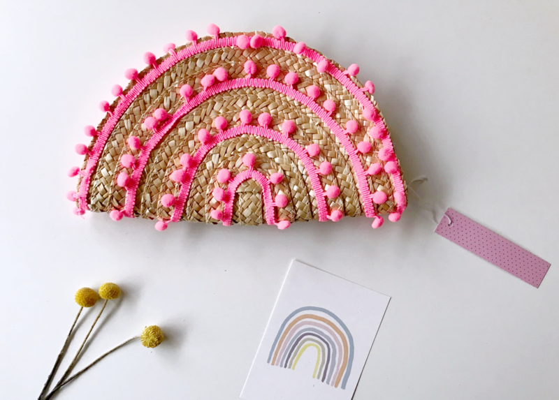 Kdootjes Summer Fashion Vrolijke Stro Handtas Pompons Neon Roze