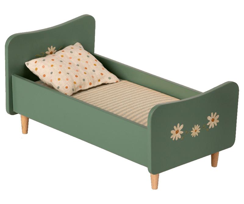 Maileg Wooden bed, Mini - Mint blue