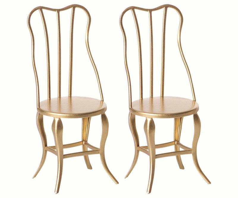 Maileg vintage gouden stoeltjes - micro set van 2