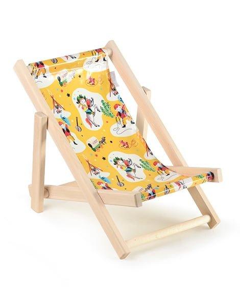 Minikane lounge strandstoel voor pop mosterd