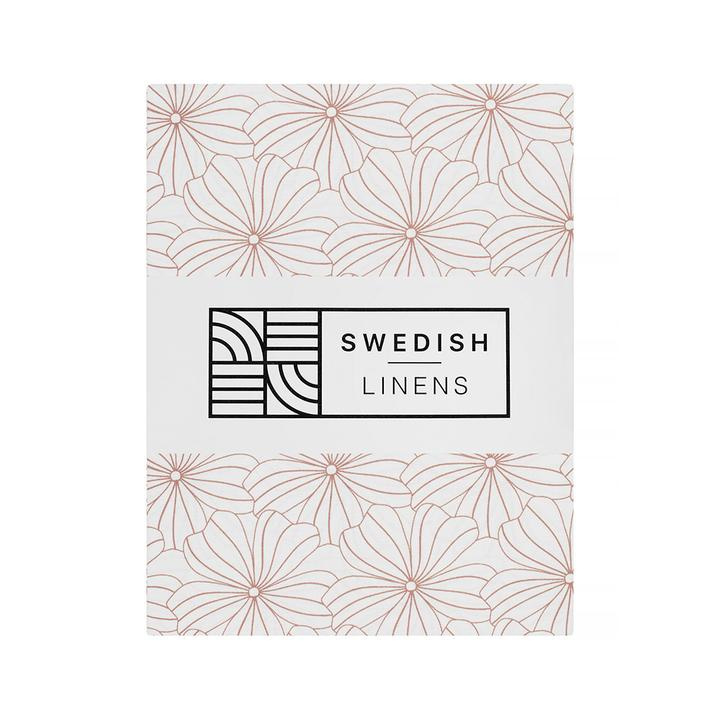 Swedish Linens FLOWERS White 70x160 fitted sheet