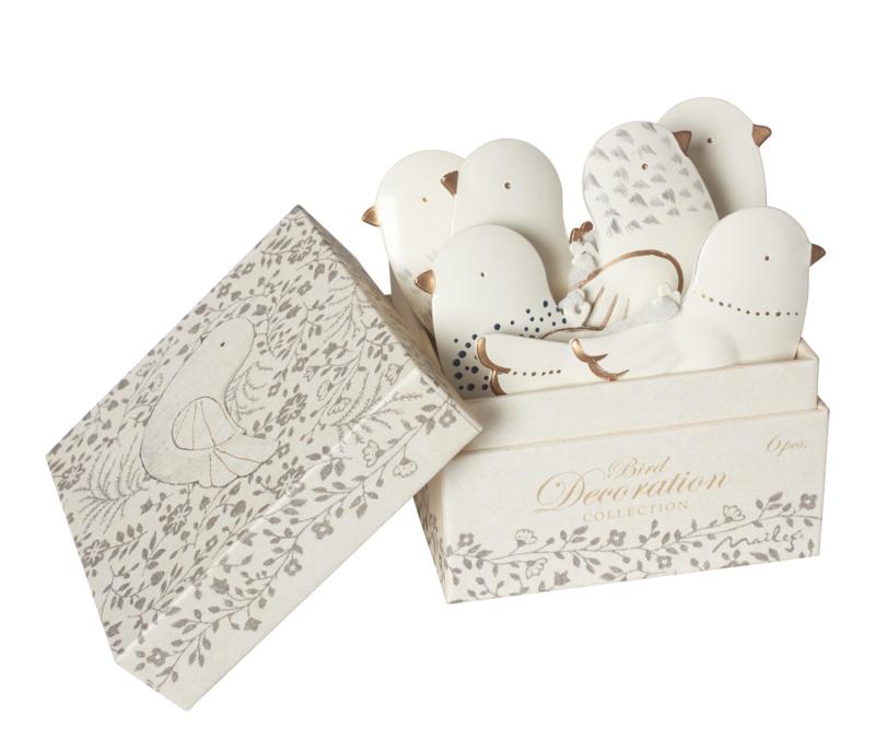Maileg kerstornamenten goud/wit vogeltjes in een doosje