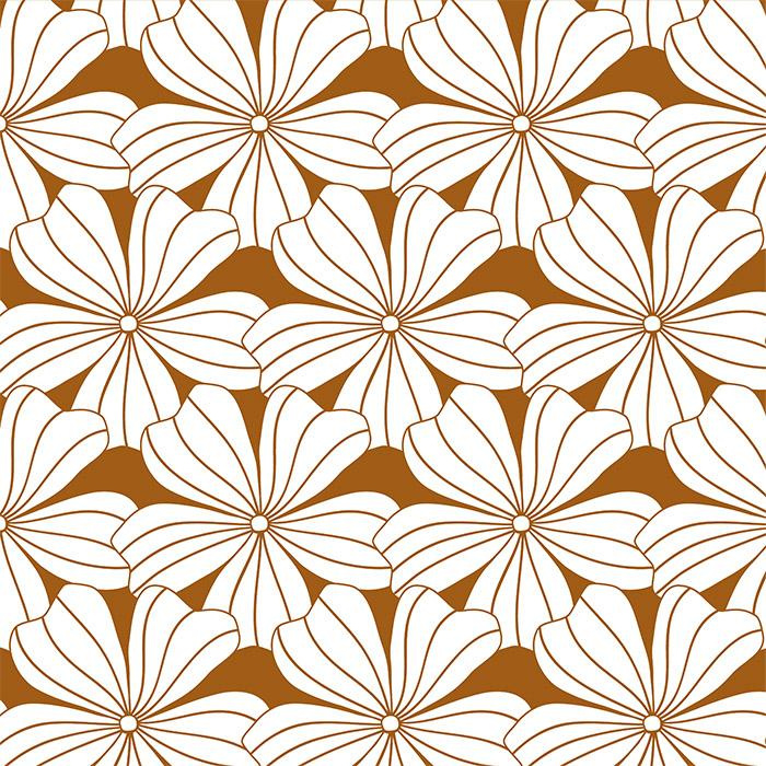 Swedish Linens FLOWERS Cinnamon Brown 90x200 fitted sheet
