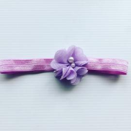 Baby Haarbandje met organza bloem (lila)