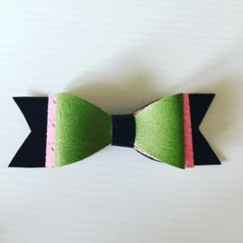 Haarstrik zwart/legergroen/roze