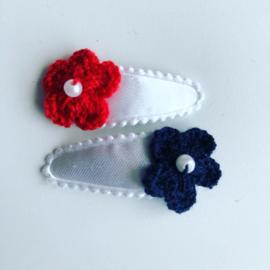 Haarspeldjes bloemetjes Rood/Navy