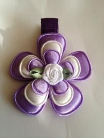 Haarlokspeldje paars wit paars