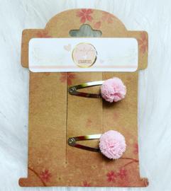 Haarspeldjes met  pom pom( licht roze)