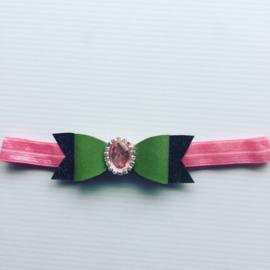Haarbandje met strik legergroen/Roze