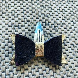 Glitter strikje zwart/goud met klik klak speldje