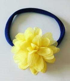 Nylon Haarbandje met glitter bloem(navy/pastel geel)