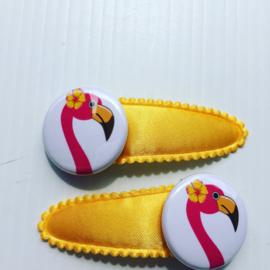 Haarspeldjes flamingo (oger geel/fuchsia)