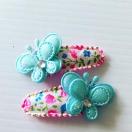 Haarspeldjes met vlinder (blauw/gebloemd)