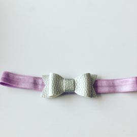 Haarbandje met strik..Lila/zilver