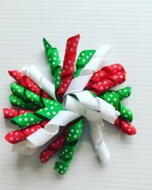 Kerst krullie met clip..groen/wit/rood