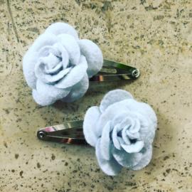 Haarspeldjes vilten roos wit