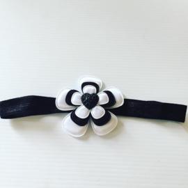 Haarbandje met hart Zwart/Wit