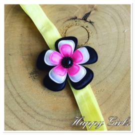 Haarbandje met bloem geel/zwart/wit/framboos