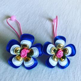 Haar elastiekjes roze/blauw/goud