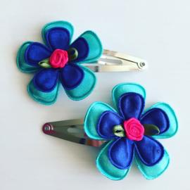 Haarspeldjes 5 cm Teal/Royal Blue/fuchsia
