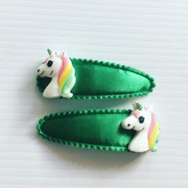 Haarspeldjes unicorn (groen)