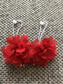 Haarelastiek met bloem Rood/goud