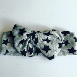 Haarband met strik   (grijs met zwarte sterren)