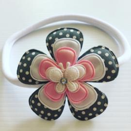Nylon Haarbandje met bloem en vlinder