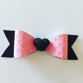 Haarstrik zwart/roze met hart