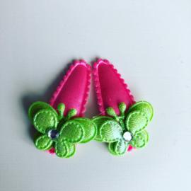 Baby haarspeldjes met vlindertje (appelgroen)