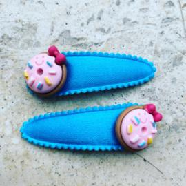 Haarspeldjes roze donuts