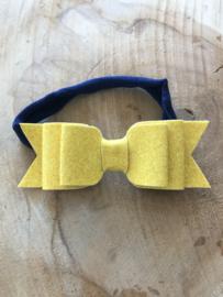 Navy haarbandje met gele glitter strik