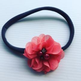 Nylon haarbandje met bloem.antraciet/koraal