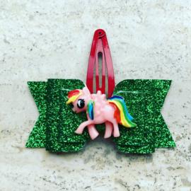 Haarstrik glitter groen pony zalm